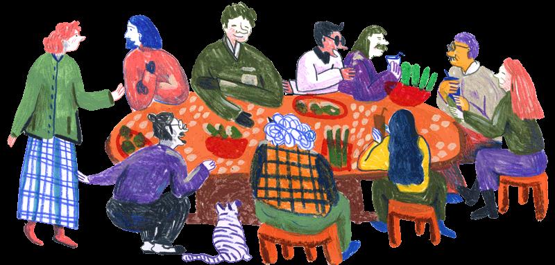 Bild: Zehn Genossenschaftsmitglieder sitzen an einem großen Tisch und unterhalten sich angeregt.