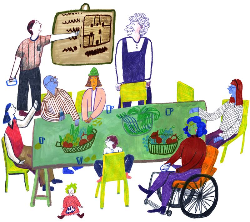 Bild: Eine Gruppe von Menschen sitzt an einem großen Tisch und diskutiert über eine Zeichnung auf einer Tafel.