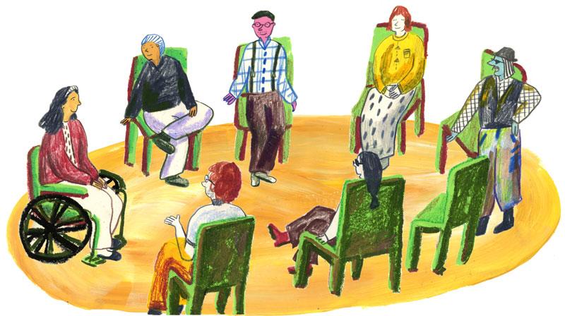 Bild: Sieben Menschen sitzen in einem Stuhlkreis und besprechen aktuelle Punkte mit Klärungsbedarf.