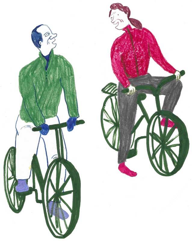 Bild: Zwei Erwachsene fahren nebeneinander auf Fahrrädern her.